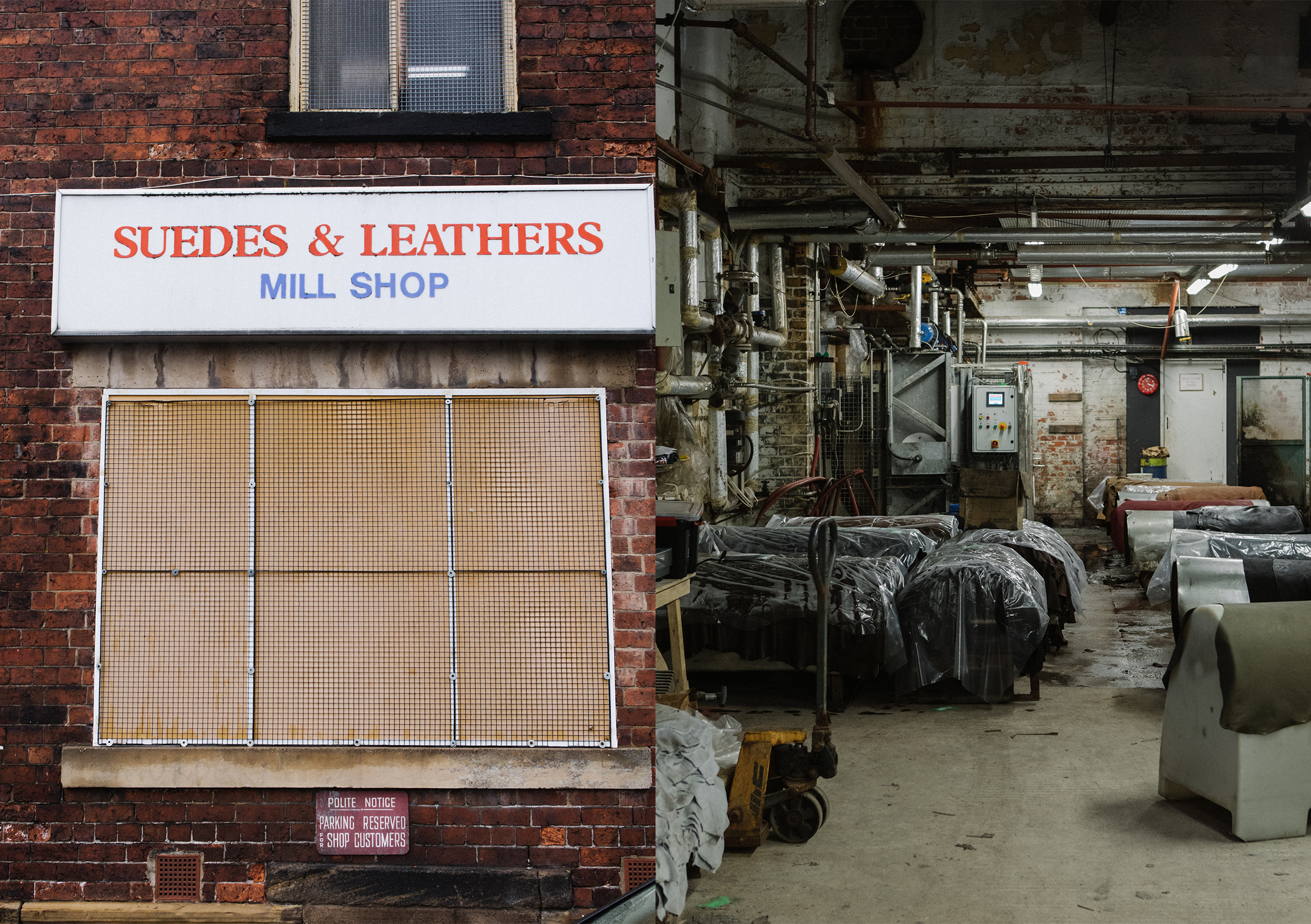 Outside and inside the C.F. Stead Tannery in Leeds