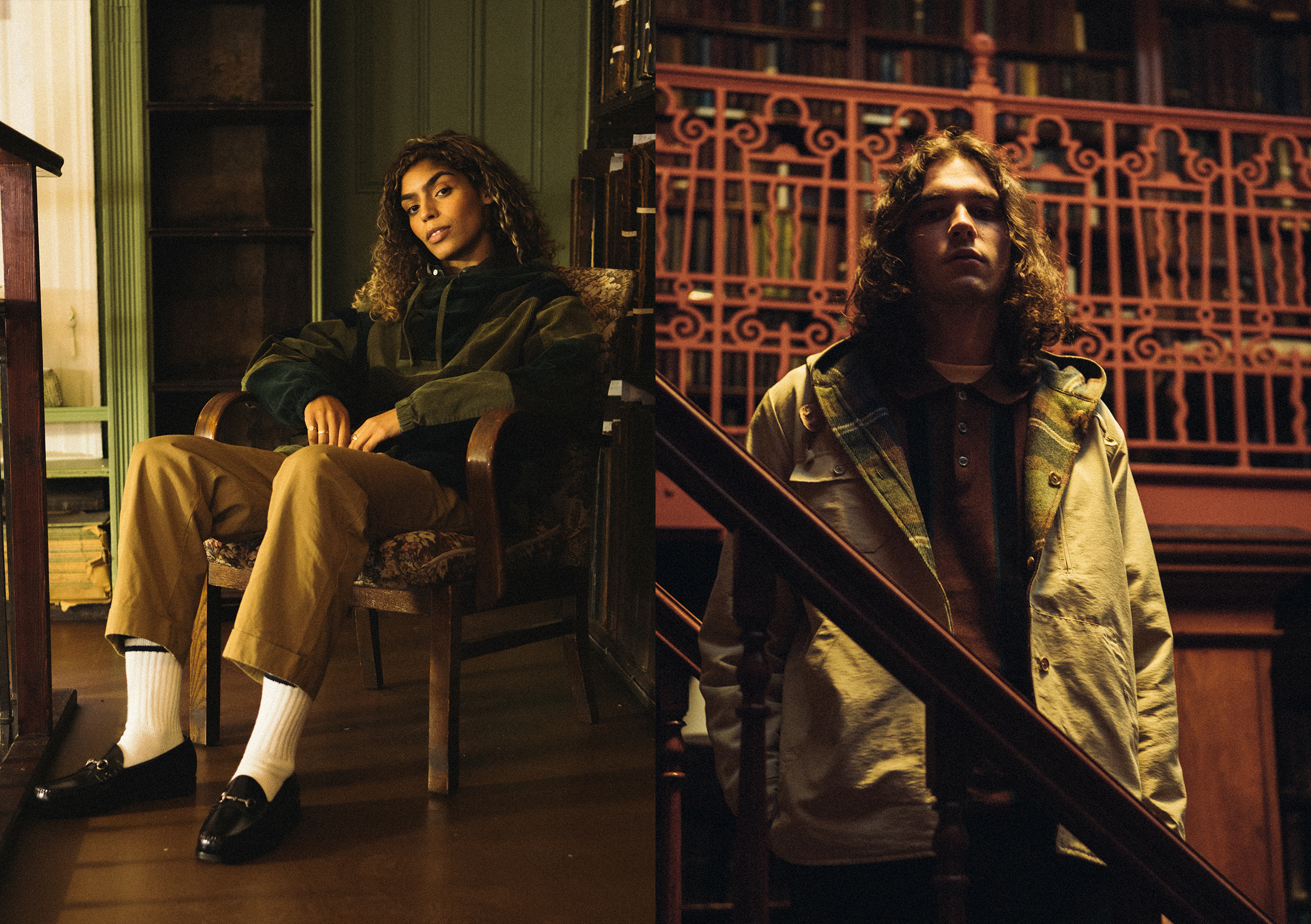 beams plus AW20 corduroy pullover and overshirt editorial at Leeds library