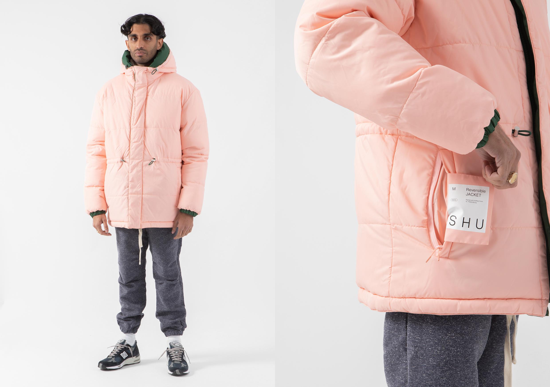 SHU winter jacket shot on model HIP