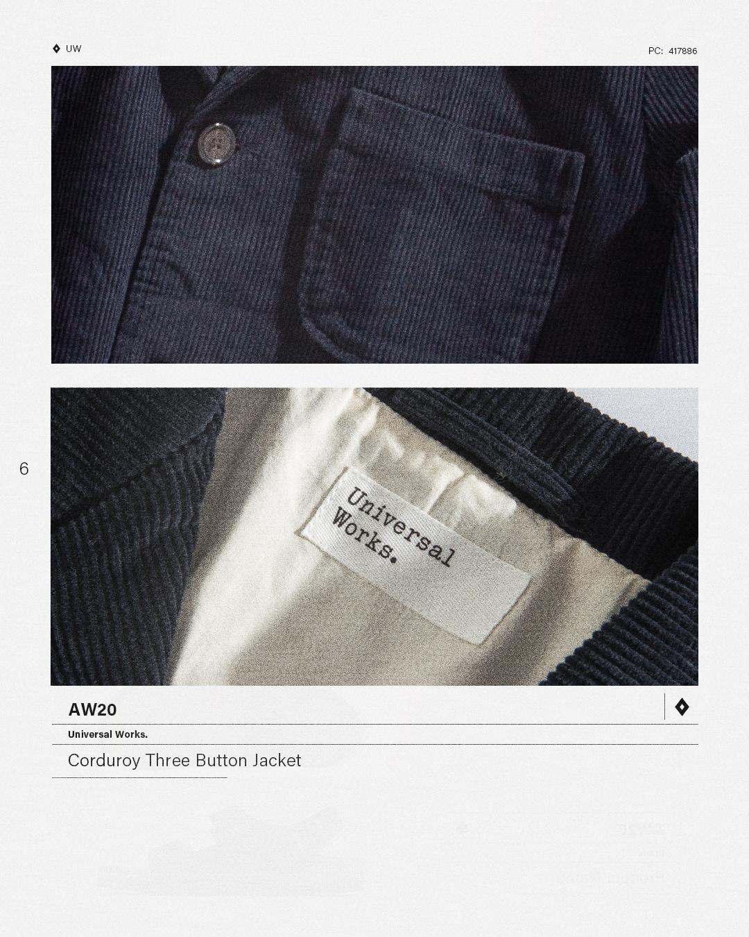HIP Staff Picks: Universal Works AW20 Corduroy Three Button Jacket